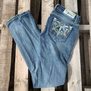 Grace in LA embroidered and rhinestone jeans
